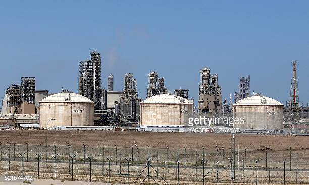 A general view taken on April 16 2016 shows the Shuaiba oil refinery south of Kuwait City Kuwaiti oil workers plan to go on strike on April 17 2016...