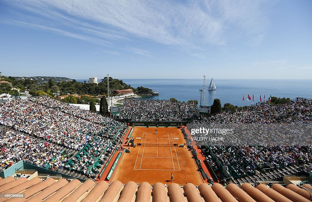 A general view taken on April 17, 2014 in Monaco during a Monte-Carlo ATP Masters Series Tournament tennis match between Swiss Roger Federer and Czech Lukas Rosol.