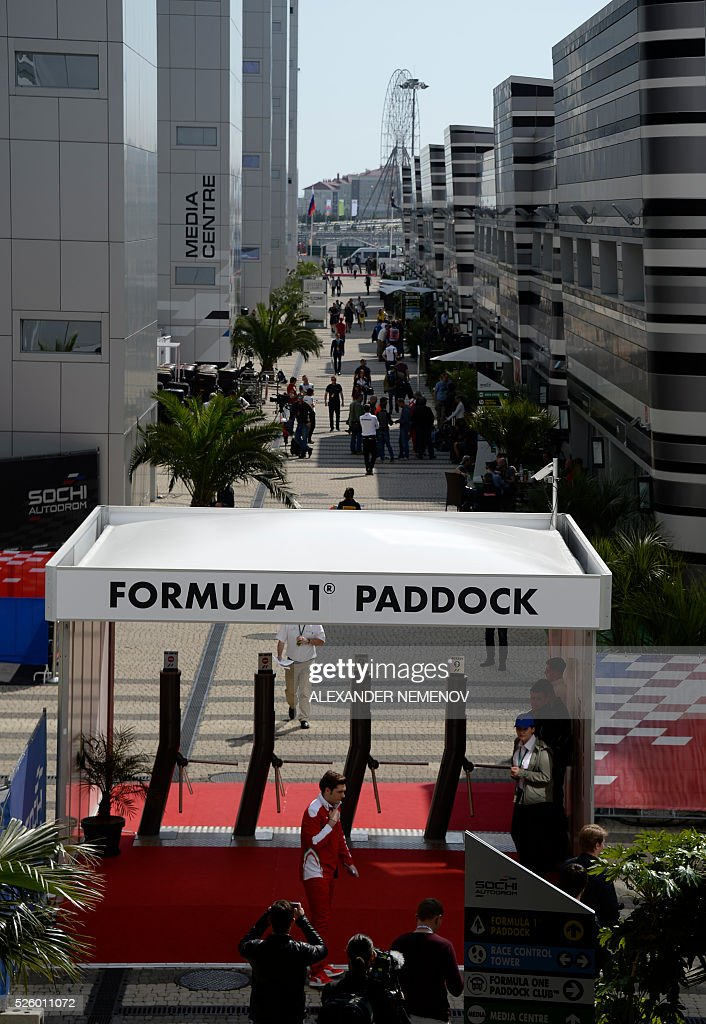 A general view taken on April 29, 2016 shows the paddock at the Sochi Autodrom circuit. / AFP / ALEXANDER