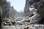A general view taken on April 6 2015 shows destruction in Yarmuk Palestinian refugee camp in the Syrian capital Damascus Around 2000 people have been...
