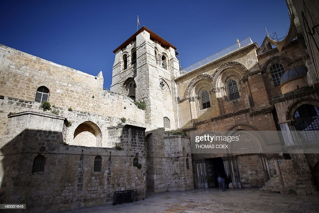 A general view taken on April 7 2014 shows one of Christianity's holiest sites The Church of the Holy Sepulchre also known as the Basilica of the...