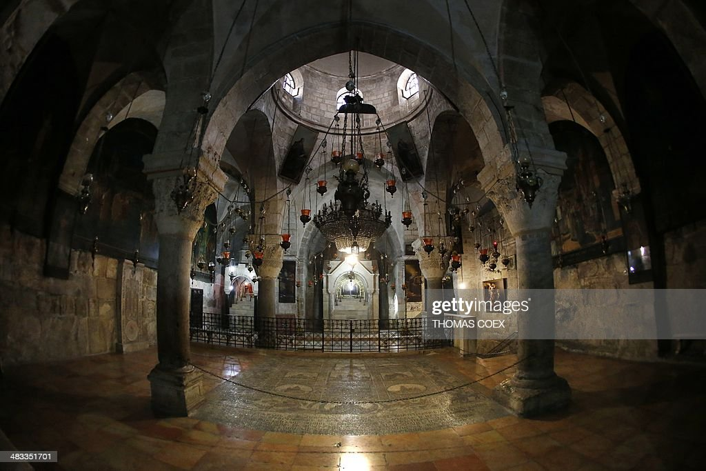 A general view taken on April 7 2014 shows the Armenian Chapel of Saint Helena inside The Church of the Holy Sepulchre Christianity's holiest site...