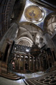 A general view taken on April 7 2014 shows the 'Greek Choir' or 'Katholikon' which is the central part of The Church of the Holy Sepulchre also known...
