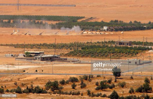 A general view taken on August 19 shows artillery being fired from a Lebanese military base in a mountainous area near the eastern town of Ras...