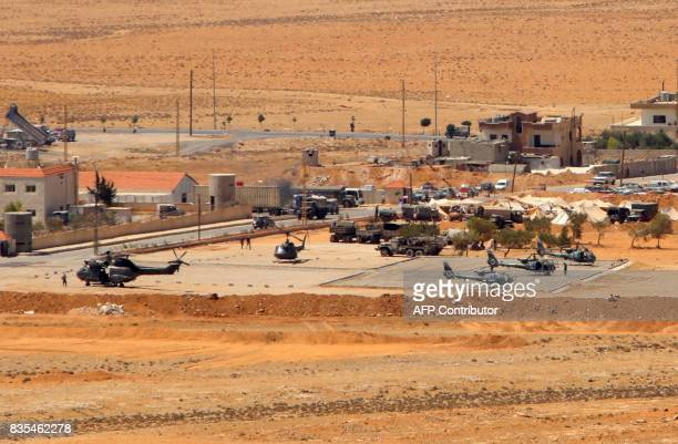 A general view taken on August 19 shows helicopters at a Lebanese military base in a mountainous area near the eastern town of Ras Baalbek as...