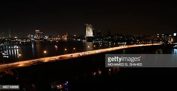 A general view taken on December 21 2014 shows Egypt's Nile river and University Bridge in Cairo AFP PHOTO / MOHAMED ELSHAHED