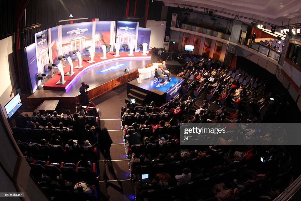 A general view taken on February 25, 12013 shows the set of Kenya's second edition of the presidential debate held at BrookHouse School in Nairobi. Kenya is gearing up for presidential, gubernatorial, senatorial elections on March 4, the first since bloody post-poll violence five years ago in which more than 1,100 people died after contested results. AFP PHOTO / POOL / JOAN PERERUAN