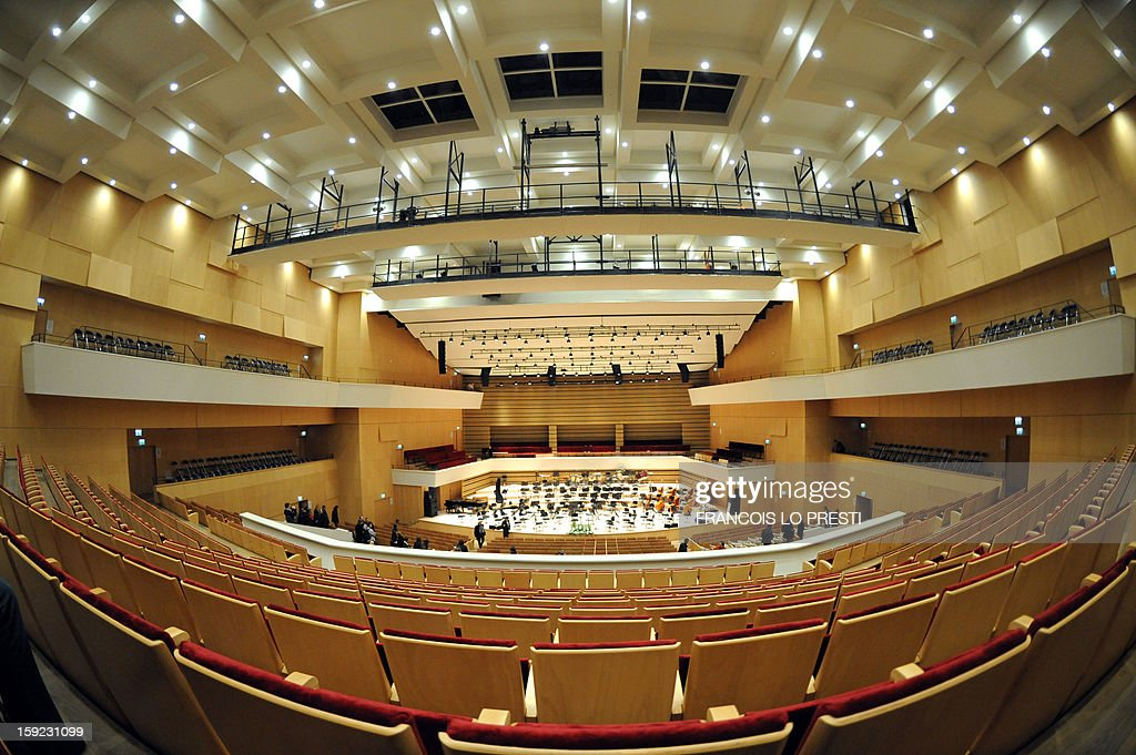 General view taken on January 10, 2013 shows the 'Nouveau Siecle' (New Century) auditorium in Lille ahead of a performance tonight by French conductor Jean-Claude Casadesus and the Lille National Orchestra to mark its reopening after a complete renovation.