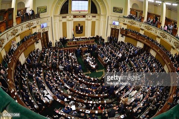 A general view taken on January 10 2016 shows members of Egypt's new parliament meeting during their inaugural session in the capital Cairo