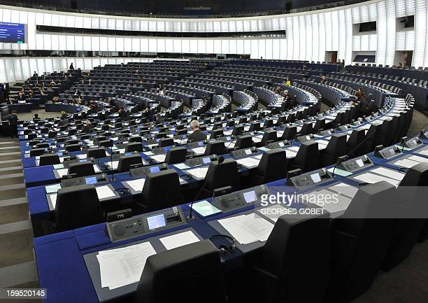 General view taken on January 15 2013 shows empty benches of the European Parliament as Cypriot President Demetris Christofias speaks during a...