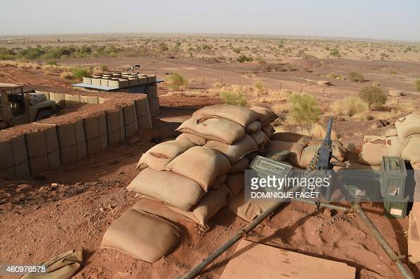 A general view taken on January 2 2015 shows defense posts at the French camp of the detachment of the Operation Barkhane outside the northern Malian...