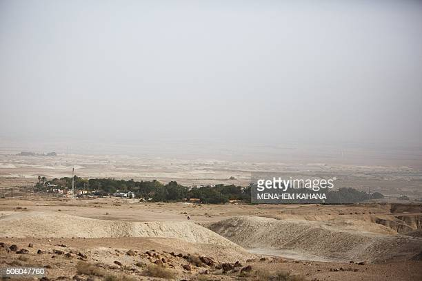 A general view taken on January 21 2016 shows the Israeli Almog settlement in the Israeli occupied West Bank near the Palestinian city of Jericho in...