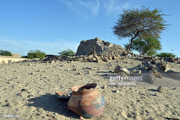 A general view taken on January 29 2013 shows the ruins of the mausoleum of Alfa Moya a Muslim saint which was destroyed by Islamists in July in a...