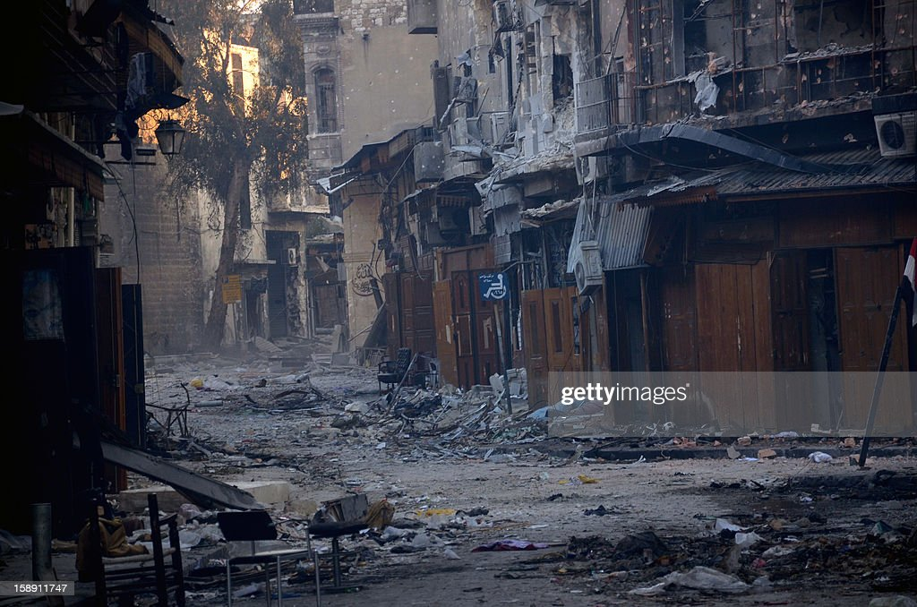 A general view taken on January 3, 2013, shows destruction in the old souk of the northern Syrian city of Aleppo after Syrian government forces allegedly recaptured the area from opposition forces. Rebels launched assaults to try to take strategic airports in northern Syria, after the United Nations revealed that the country's civil war had already killed 60,000 people.