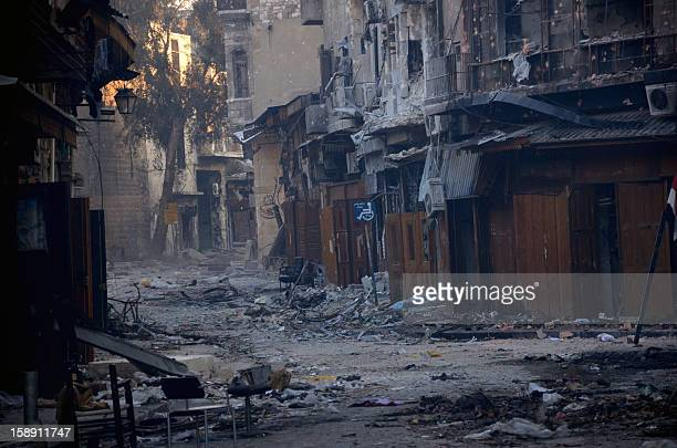 A general view taken on January 3 shows destruction in the old souk of the northern Syrian city of Aleppo after Syrian government forces allegedly...