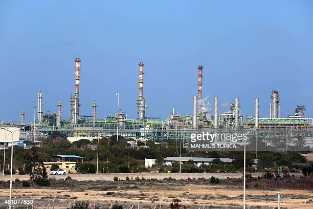 A general view taken on January 6 2015 shows the Mellitah Oil and Gas terminal on the outskirts of Zwara in western Libya after fighters from the...
