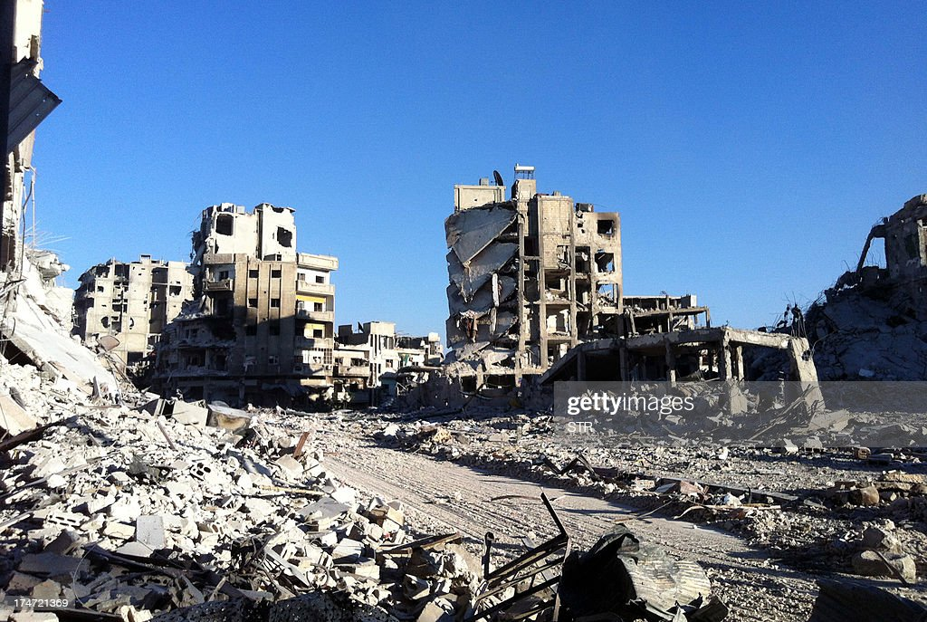 A general view taken on July 28, 2013 shows destruction in the Khalidiyah neighbourhood of Syria's central city of Homs. Government forces bolstered by Lebanese Shiite militiamen were poised to retake the largest rebel-held district of Syria's third city Homs, a watchdog and state media said.