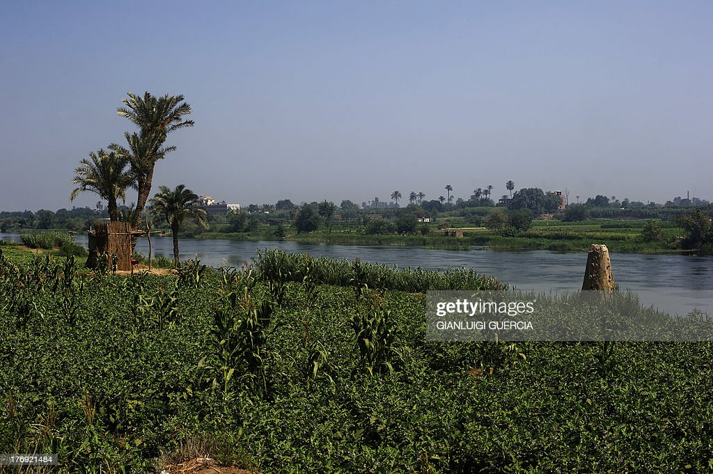 A general view taken on June 22, 2013 shows farmed fields on the banks of the Rasheed river, an offshoot of the Nile, in Cairo's northern Giza province, some 40 kilometres North of the capital. The arid state of Egypt relies heavily on the Nile for water, particularly for agriculture. Egypt believes its 'historic rights' to the Nile are guaranteed by two treaties from 1929 and 1959 which allow it 87 percent of the Nile's flow and give it veto power over upstream projects. AFP PHOTO/GIANLUIGI GUERCIA