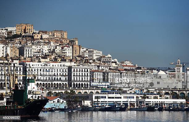 A general view taken on June 5 2014 shows the Grand Mosque situated on the promenade along the Bay of Algiers with the old town of the Algerian...