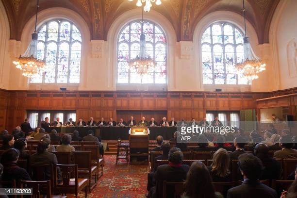 A general view taken on March 12 2012 of the International Court of Justice holds a public hearing in the case concerning Questions relating to the...