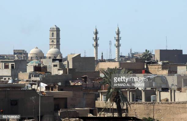 A general view taken on March 25 shows the Mosul skyline featuring the area near the Great Mosque of AlNuri in Mosul where Islamic State group leader...