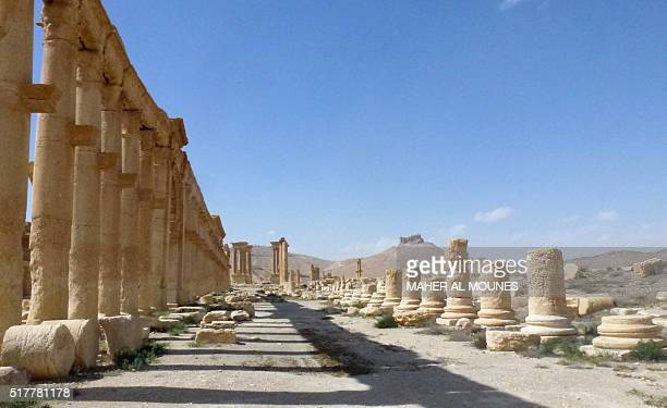 A general view taken on March 27 2016 shows part of the ancient city of Palmyra after government troops recaptured the UNESCO world heritage site...