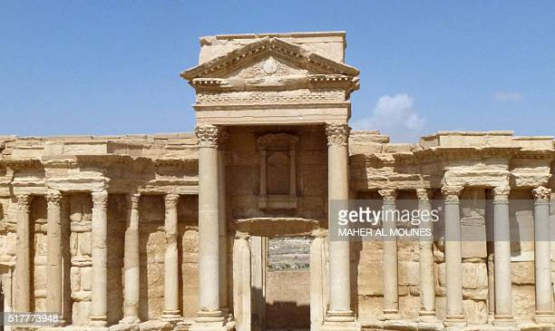 A general view taken on March 27 2016 shows the theatre in the ancient Syrian city of Palmyra after government troops recaptured the UNESCO world...