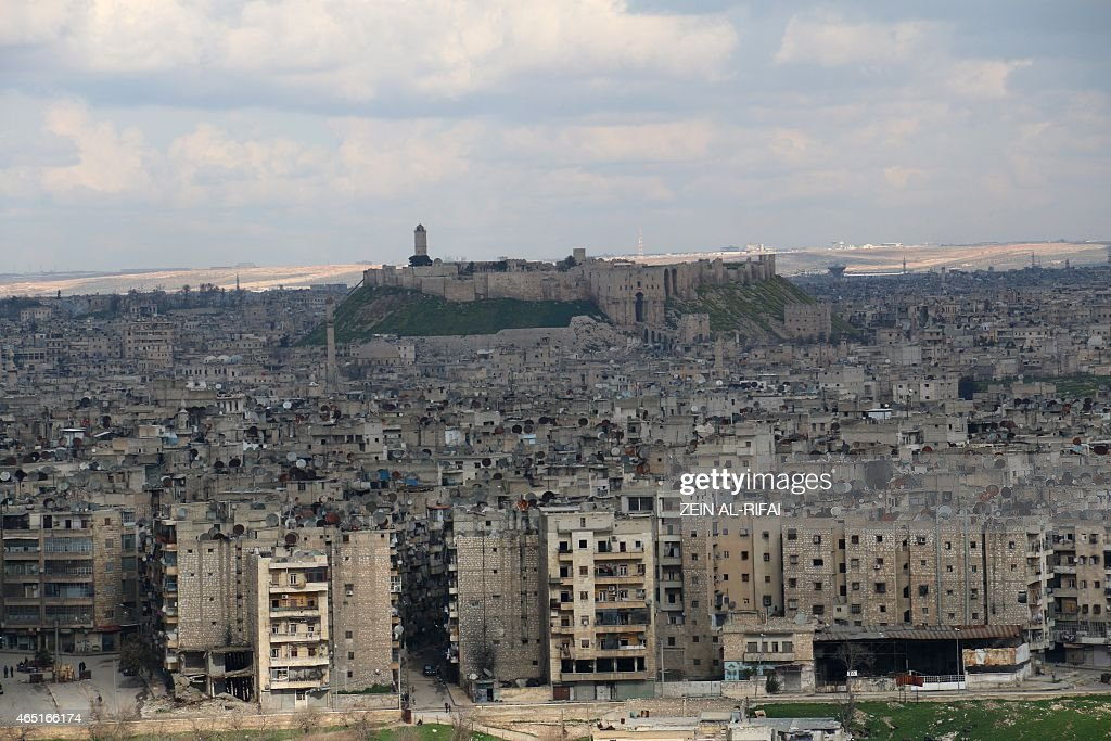 A general view taken on March 3 2015 shows the Aleppo Citadel in the northern Syrian city of Aleppo Once Syria's commercial hub Aleppo has been...
