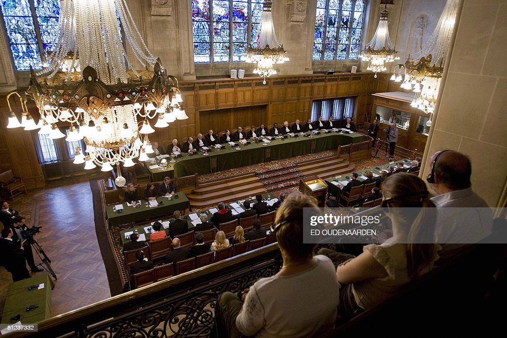 A general view taken on May 26, 2008 shows the International Court of Justice in The Hague hearing a complaint filed in 1999 by Croatia against Serbia, alleging a program of 'ethnic cleansing' during the 1991-1995 war in Croatia was directly controlled from Belgrade. Serbia argued before the UN's highest court on May 26, 2008 that crimes committed in the early 1990s war in Croatia did not amount to an act of genocide as alleged a complaint filed by Zagreb. AFP PHOTO / ED OUDENAARDEN -Netherlands out - Belgium out-