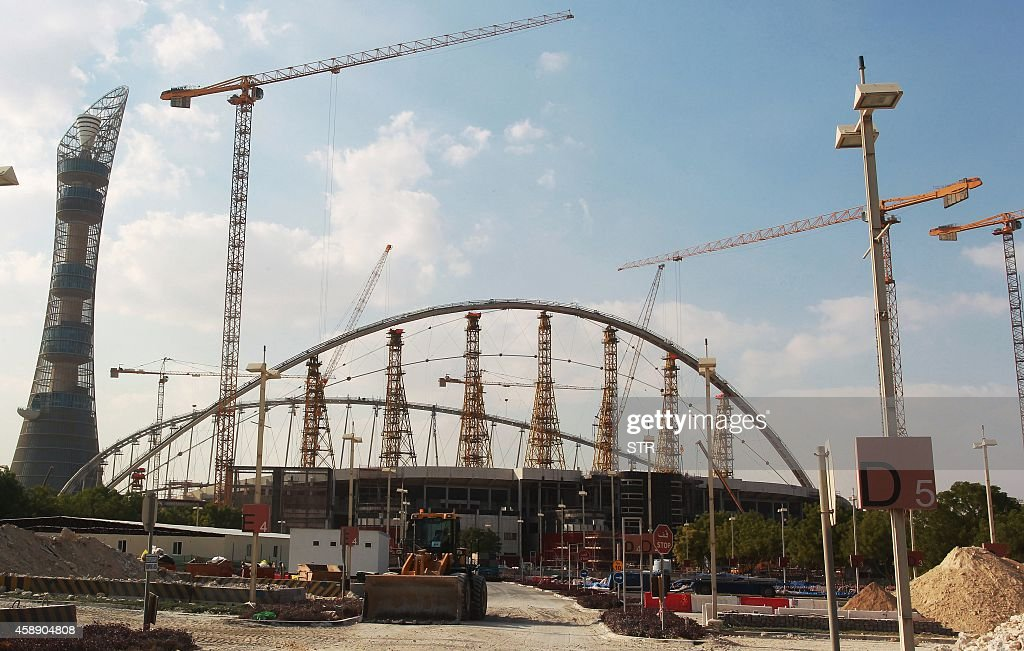 A general view taken on November 13 2014 shows Khalifa Stadium in Doha which is undergoing complete renovation in preparation to host some of the...