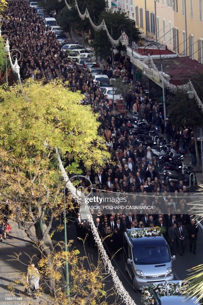 A general view taken on November 17, 2012 shows relatives and people following the funeral cortege of Jacques Nacer, the Chamber of Commerce and Industry (CCI)'s local president in Ajaccio's streets. Nacer was found shot dead on November 14, 2012 in his retail shop in Ajaccio, in the French Mediterranean island of Corsica. Since the start of 2011 there have been 39 murders on an island with a population of just over 300,000, giving it the highest homicide rate in Europe.