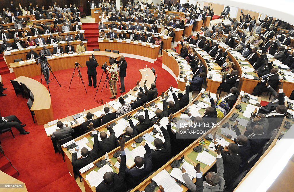 A general view taken on November 21, 2012 shows deputies voting on bills presented by the government at the parliament in Abidjan. President Alassane Ouattara on November 14 dissolved the government formed in March and charged with reviving the country after the political and military crisis of 2010-2011 due to differences among the governing parties -- Ouattara's RDR, former president Henri Konan Bedie's PDCI and the small UDPCI party.