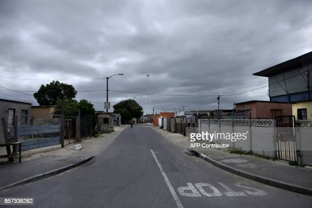 A general view taken on October 3 2017 shows houses and streets in Philippi East on the outskirts of Cape Town a township which has seen the killing...