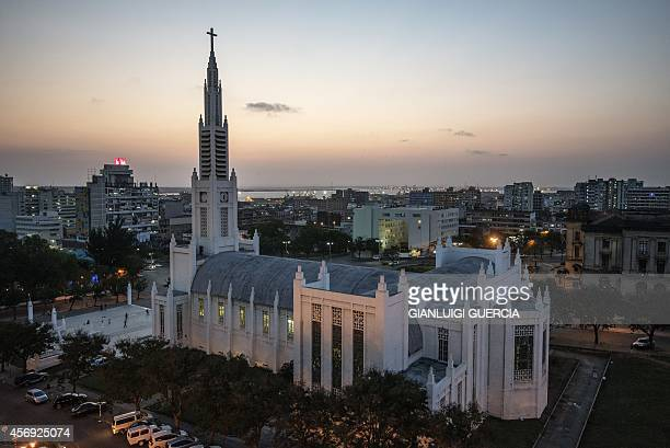 A general view taken on October 9 2014 of the Cathedral of Our Lady of the Immaculate Conception in Maputo Mozambicans will cast their ballots in the...