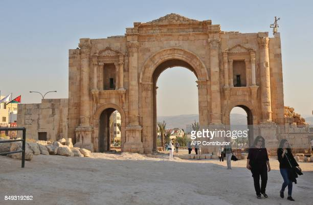 A general view taken on September 18 2017 shows Hadrian's Arch at the archaeological site of Jerash some 50 kilometres north of the Jordanian capital...