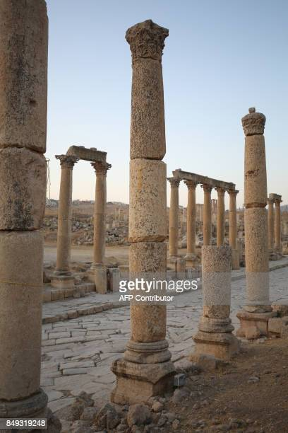 A general view taken on September 18 2017 shows part of the archaeological site of Jerash some 50 kilometres north of the Jordanian capital / AFP...