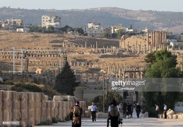 A general view taken on September 18 2017 shows people visiting the archaeological site of Jerash some 50 kilometres north of the Jordanian capital /...