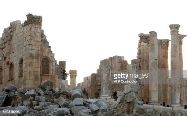 A general view taken on September 18 2017 shows the Temple of Zeus at the archaeological site of Jerash some 50 kilometres north of the Jordanian...