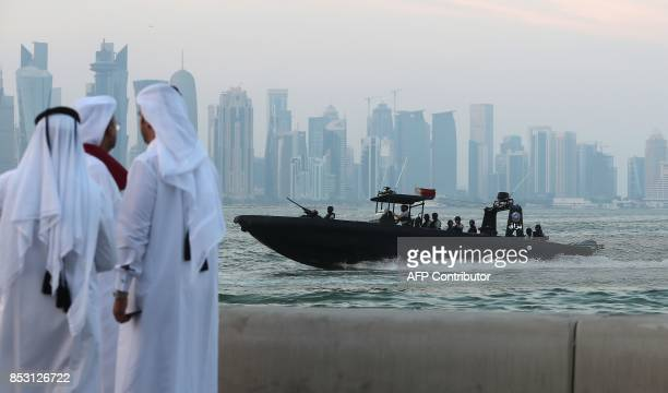 A general view taken on September 24 2017 shows the Navy Special Forces off the coast of the Qatari capital Doha / AFP PHOTO / KARIM JAAFAR