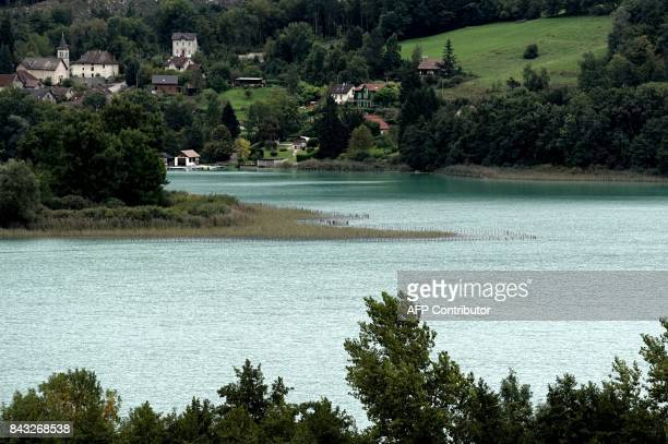 A general view taken on September 6 2017 shows Aiguebelette Lake in Aiguebelette eastern France where divers look for the young Maelys after the...