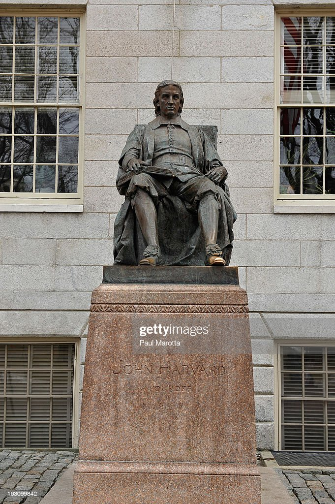 A general view the John Harvard bronze statue on the campus of Harvard University, of on March 4, 2013 in Cambridge.