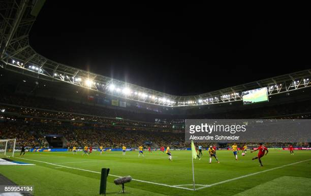 General view the match between Brazil and Chile for the 2018 FIFA World Cup Russia Qualifier at Allianz Parque Stadium on October 10 2017 in Sao...