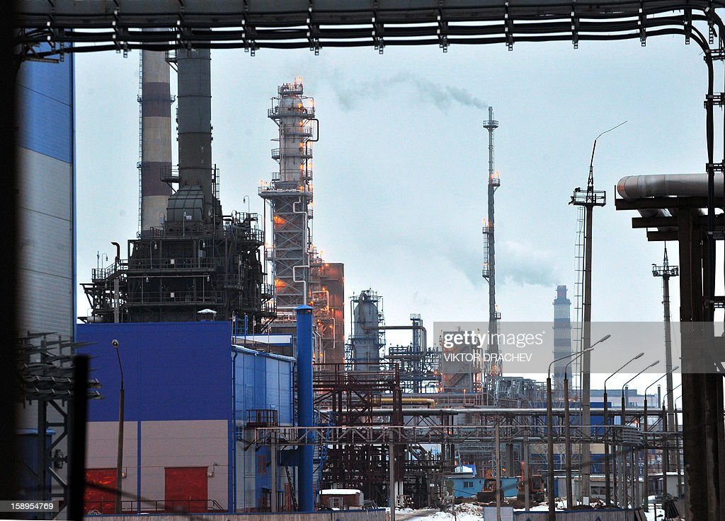 A general view the Mozyr oil refinery some 300 km southof Minsk in Mozyr on January 4, 2013.