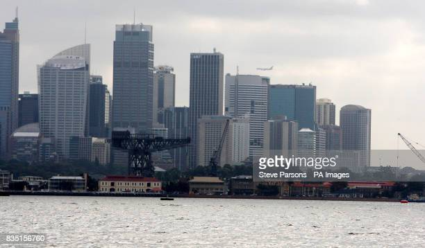 General view the Naval Base at Woolloomooloo in Sydney Australia with the City skyline in the background