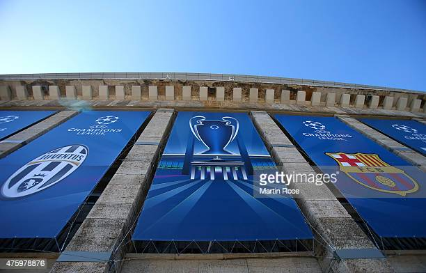 A general view the stadium on the eve of the UEFA Champions League Final between Juventus and FC Barcelona at Olympiastadion on June 5 2015 in Berlin...