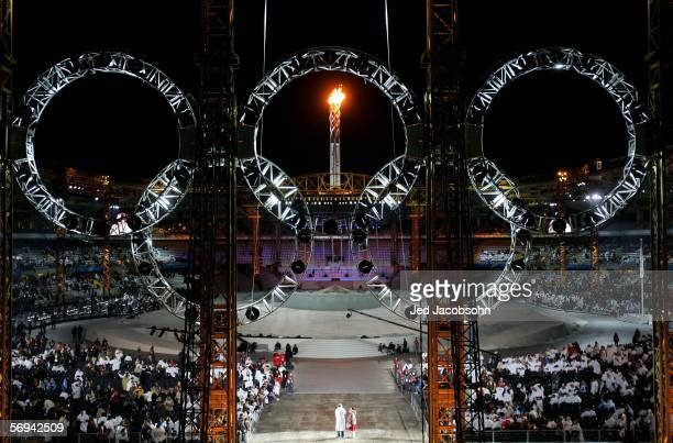A general view through the Olympic rings the inside of the stadium during the Closing Ceremony of the Turin 2006 Winter Olympic Games on February 26...