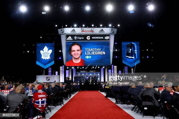 A general view Timothy Liljegren is selected 17th overall by the Toronto Maple Leafs during the 2017 NHL Draft at the United Center on June 23 2017...