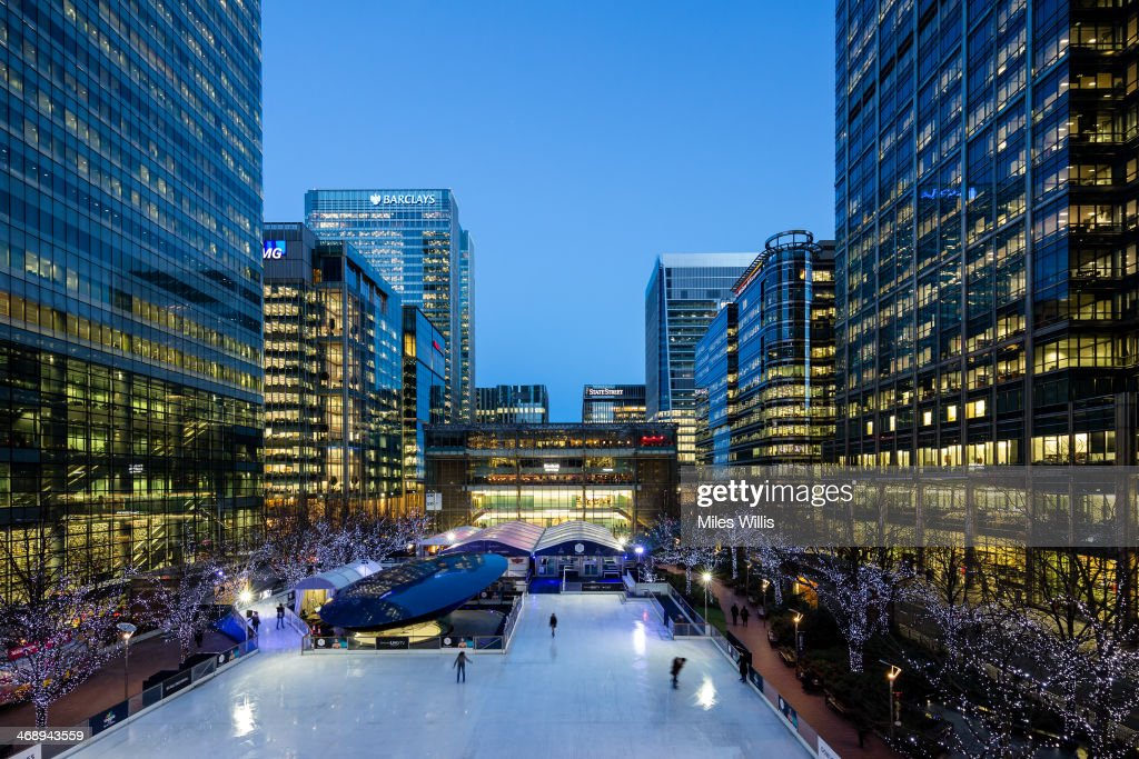 A general view to celebrate Valentine's Day at the Ice Rink Canary Wharf, London's longest-running ice rink at Canary Wharf on February 7, 2014 in London, England.