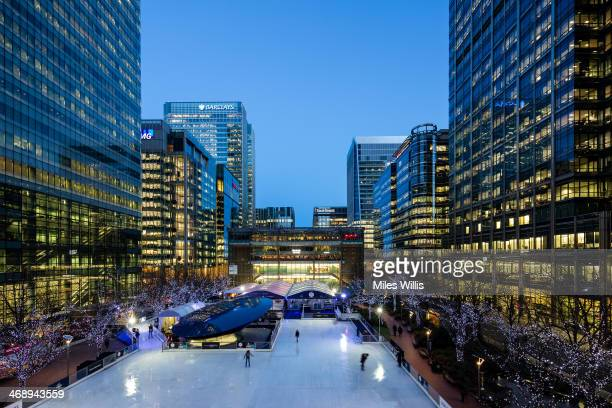 A general view to celebrate Valentine's Day at the Ice Rink Canary Wharf London's longestrunning ice rink at Canary Wharf on February 7 2014 in...