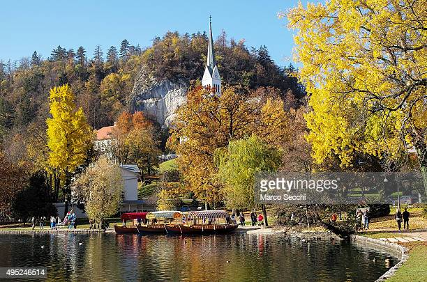 A general view walk and the church on Lake Bled on November 1 2015 in Bled Slovenia Bled Lake in the Julian Alps is known as one of the most...